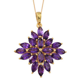 Uruguay Amethyst (Mrq) Cluster Pendant With Chain in 14K Gold Overlay Sterling Silver 10.000 Ct.