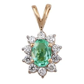 ILIANA 18K Y Gold Boyaca Colombian Emerald (Ovl 0.75 Ct), Diamond (SI/G-H) Pendant 1.000 Ct.