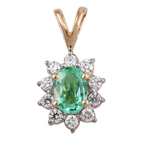 ILIANA 18K Y Gold AAA Boyaca Colombian Emerald (Ovl 0.75 Ct), Diamond (SI/G-H) Pendant 1.000 Ct.