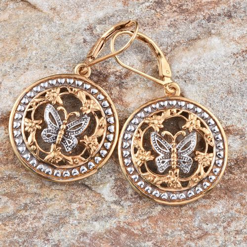 Yellow Gold and Platinum Overlay Sterling Silver Butterfly Earrings, Silver wt 7.61 Gms.