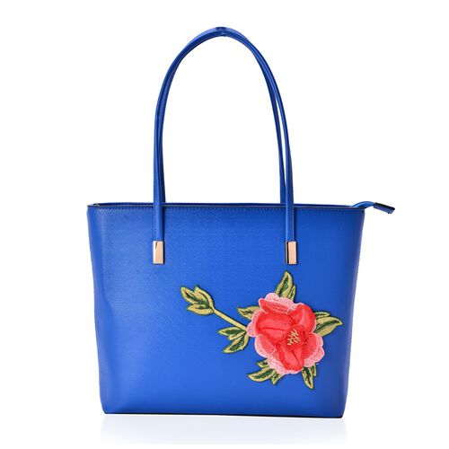 3D Floral Pattern Blue Colour Tote Bag (Size 38x28x8 Cm)