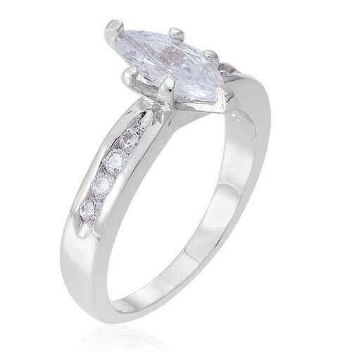 ELANZA AAA Simulated Diamond (Mrq) Ring in Rhodium Plated Sterling Silver
