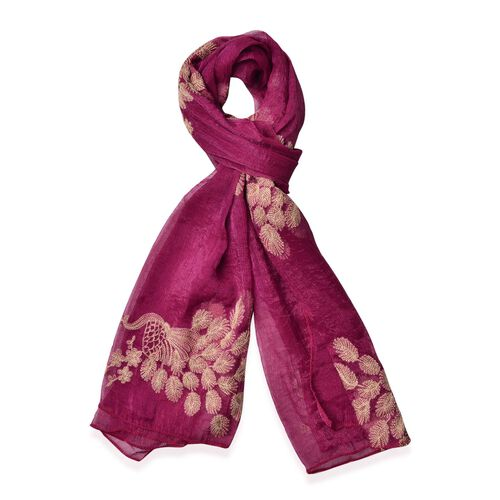 Golden Peacock Embroidered Burgundy Colour Scarf (Size 170X70 Cm)