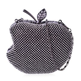 White Austrian Crystal Studded Apple Design Clutch Bag in Black Tone with Removeable Chain Strap (Size 14x12 Cm)