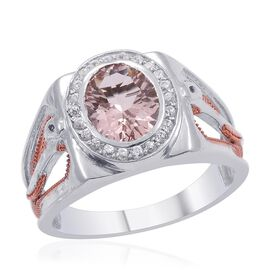 Designer Collection Marropino Morganite (Ovl 2.40 Ct), Cambodian Zirocn Ring in 14K RG and Platinum Overlay Sterling Silver 3.010 Ct.