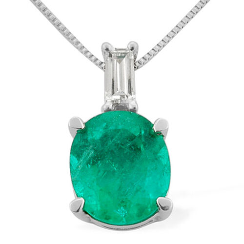 RHAPSODY 950 Platinum Boyaca Colombian Emerald (Ovl 0.91 Ct), Diamond Pendant With Chain 1.000 Ct.