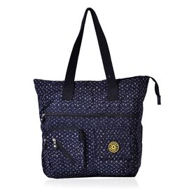 Navy and Cream Colour Waterproof Tote Bag with External Zipper Pocket (Size 37x36x10.5 Cm)