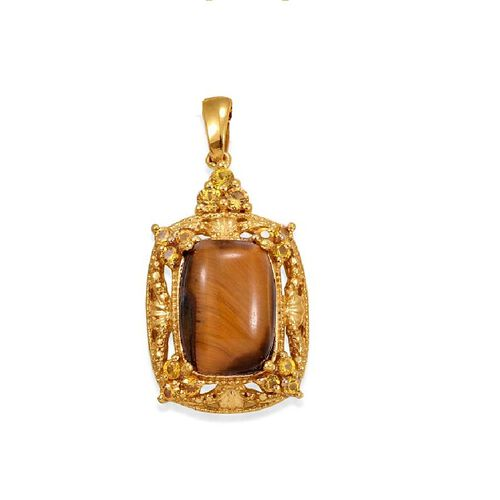 Tigers Eye (Cush 4.75 Ct), Simulated Yellow Sapphire Pendant in ION Plated 18K YG Bond 5.500 Ct.