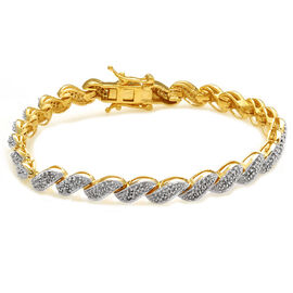 Close Out Deal Diamond (Rnd) Bracelet in 14K Gold Overlay Sterling Silver (Size 7.5) 1.050 Ct.