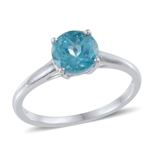 AA Paraibe Apatite (Rnd) Solitaire Ring in Platinum Overlay Sterling Silver 1.000 Ct.
