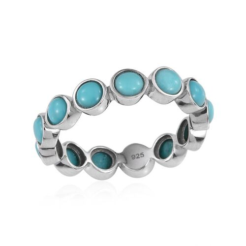 Sonoran Turquoise (Rnd) Full Eternity Ring in Platinum Overlay Sterling Silver 2.750 Ct.
