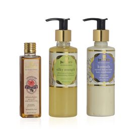 (Option 2) Just Herbs Silky Strength Aloevera-Wheatgerm Moisturising Shampoo (200 ml), Javakusum Hair Oil (100 ml) and Kumuda Conditioner (200g) (Dry Dull Hair)