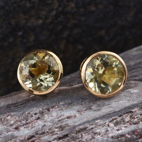 Natural Ouro Verde Quartz (Rnd) Stud Earrings (with Push Back) in 14K Gold Overlay Sterling Silver 3.500 Ct.