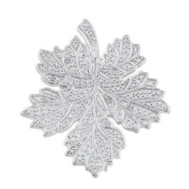 Diamond (Rnd) Maple Leaf Brooch in ION Plated Platinum Bond