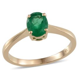 Kagem Zambian Emerald (Ovl) Solitaire Ring in 14K Yellow Gold 0.750 Ct.