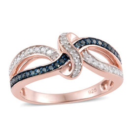 0.33 Carat Blue And White Diamond Infinity Knot Ring in Rose Gold Overlay Sterling Silver