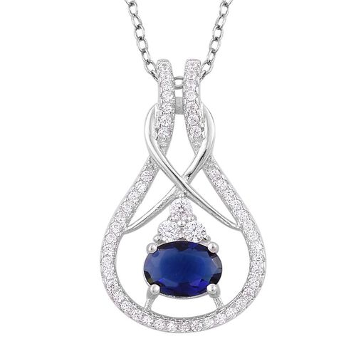 ELANZA AAA Simulated Blue Sapphire and Simulated White Diamond Pendant With Chain in Rhodium Plated Sterling Silver
