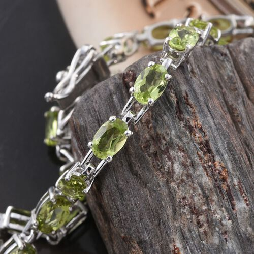 Hebei Peridot (Ovl) Bracelet (Size 8) in Platinum Overlay Sterling Silver 11.000 Ct.