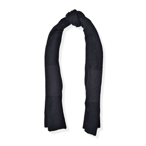 Black Colour Pull Through Scarf (Size 150x60 Cm)