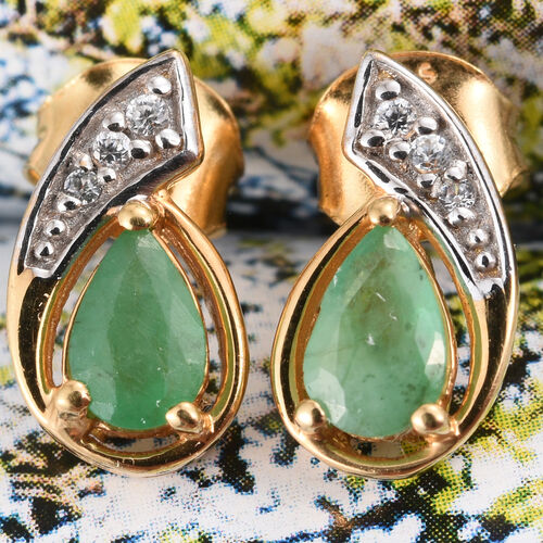 Kagem Zambian Emerald, Natural Cambodian Zircon 0.75 Ct Silver Stud Earrings in Gold Overlay