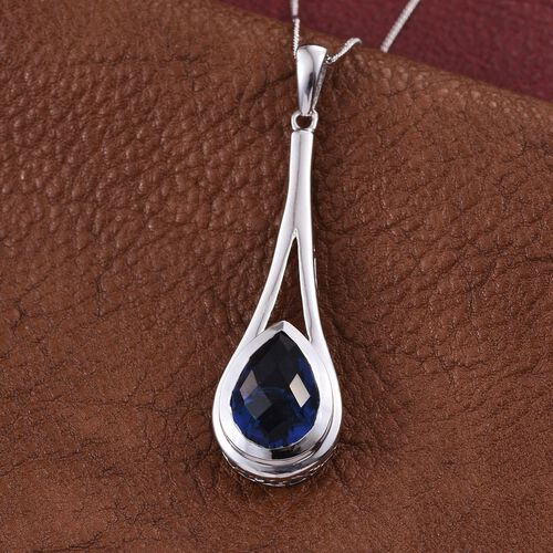 Ceylon Colour Quartz (Pear) Solitaire Pendant With Chain in Platinum Overlay Sterling Silver 5.500 Ct.