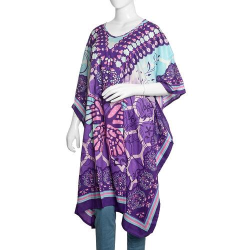Purple, Blue and Multi Colour Buttterfly Pattern Kaftan (Size 100X90 Cm)