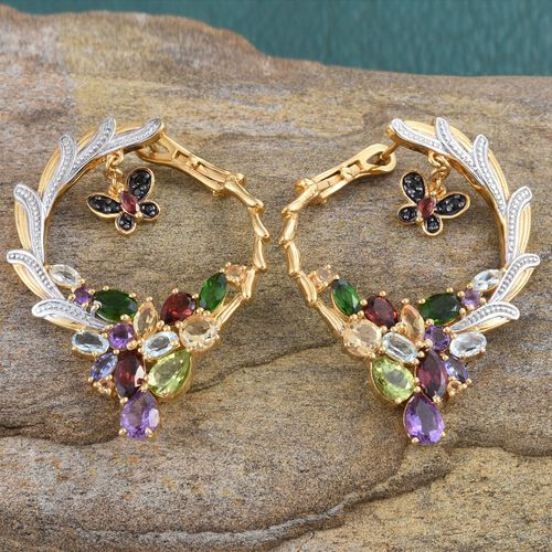 GP Mozambique Garnet (Mrq), Hebei Peridot, Amethyst, Russian Diopside, Boi Ploi Black Spinel, Sky Blue Topaz and Multi Gem Stone Earrings (with Clasp) in 14K Gold Overlay Sterling Silver 11.000 Ct.