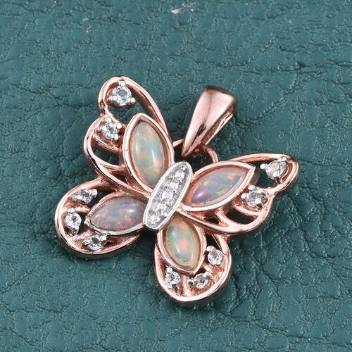 Ethiopian Welo Opal (Mrq), White Topaz Butterfly Pendant in Rose Gold Overlay Sterling Silver 1.000 Ct.