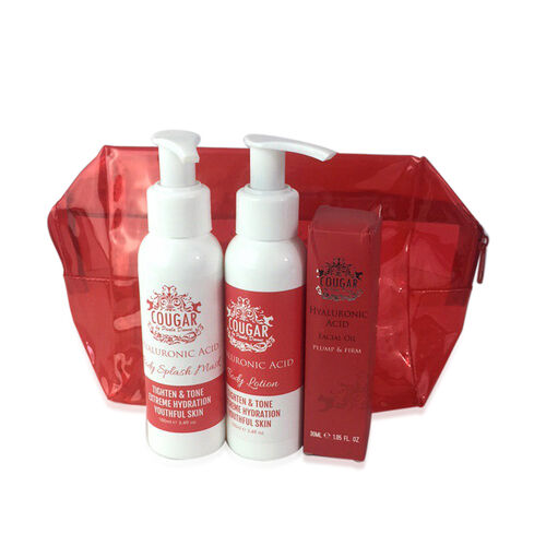 COUGAR- Hyaluronic Gift set- Body Splash 100ml, Body Lotion 100ml and Facial Oil 30ml - Red Bag