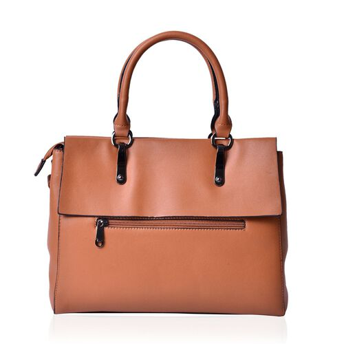 Tan Colour Tote Bag With Adjustable and Removable Shoulder Strap (Size 33.5x27x13.5 Cm)