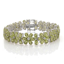 AAA Hebei Peridot (Pear), White Topaz Bracelet (Size 7.5) in Platinum Overlay Sterling Silver 36.000 Ct.