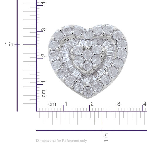 9K White Gold SGL Certified Diamond (Rnd) (I3/G-H) Heart Pendant 0.500 Ct.