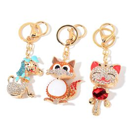Set of 3 - White Blue and Multi Colour Austrian Crystal and Simulated Garnet Fox, Dog and Cat Design Key Chains in Yellow Gold Tone