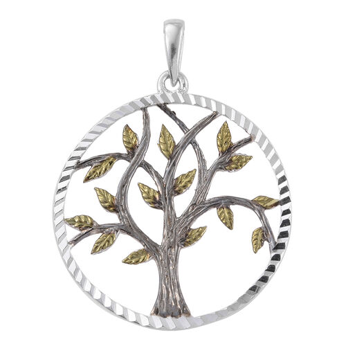 Designer Inspired-Green, Black and Sterling Silver Diamond Cut Tree of Life Pendant and Hook Earrings, Silver wt 6.00 Gms.