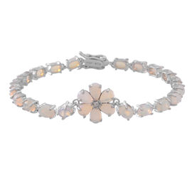 Limited Edition-Ethiopian Welo Opal (Ovl), Natural Cambodian White Zircon Floral Bracelet (Size 7.5) in Rhodium Plated Sterling Silver 8.000 Ct.