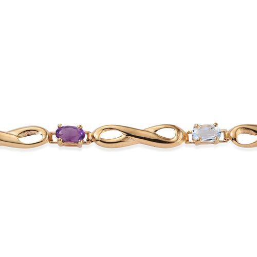Rhodolite Garnet (Ovl), Sky Blue Topaz, Citrine and Amethyst Bracelet (Size 7.5) in 14K Gold Overlay Sterling Silver 1.750 Ct.