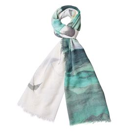 Sea Meaw Flying Over the Sea Pattern White, Dark and Light Green Colour Scarf (Size 160x90 Cm)