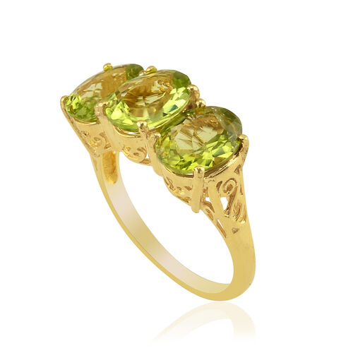 Hebei Peridot (Ovl) Trilogy Ring in 14K Gold Overlay Sterling Silver 5.250 Ct.