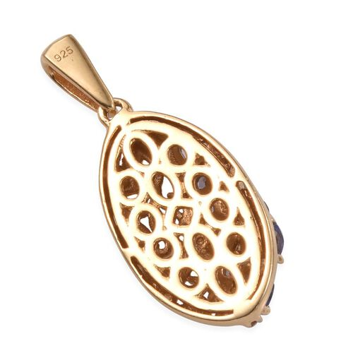 Tanzanite (Ovl), Diamond Pendant in 14K Gold Overlay Sterling Silver 0.910 Ct.