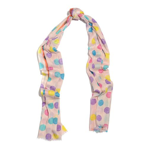 100% Cotton Light Pink, Yellow and Multi Colour Polka Dots Printed Scarf (Size 170X110 Cm)