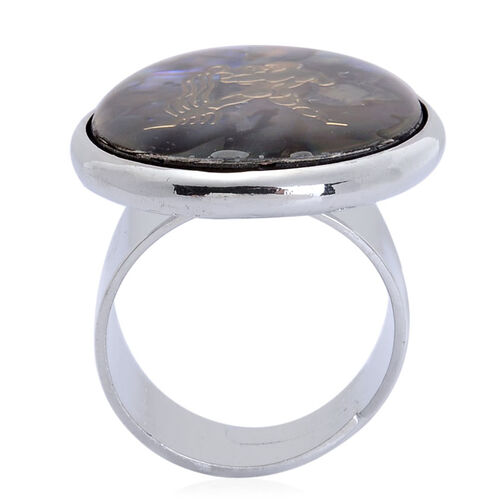 Abalone Shell Zodiac Aquarius Adjustable Ring in Silver Tone 21.000 Ct.