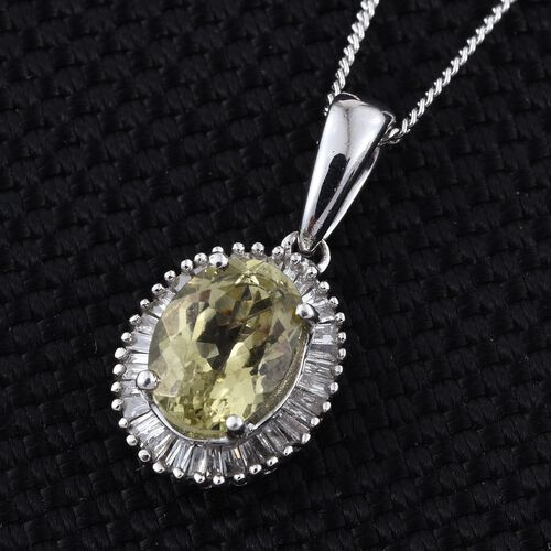Natural Canary Apatite (Ovl 1.55 Ct), Diamond Pendant With Chain in Platinum Overlay Sterling Silver 1.750 Ct.