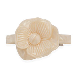 Flower Pattern Hair Clip in Resin with Simulated Puka Shell