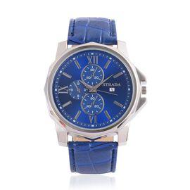 STRADA Silver Tone Chronograph Look Blue Strap Watch