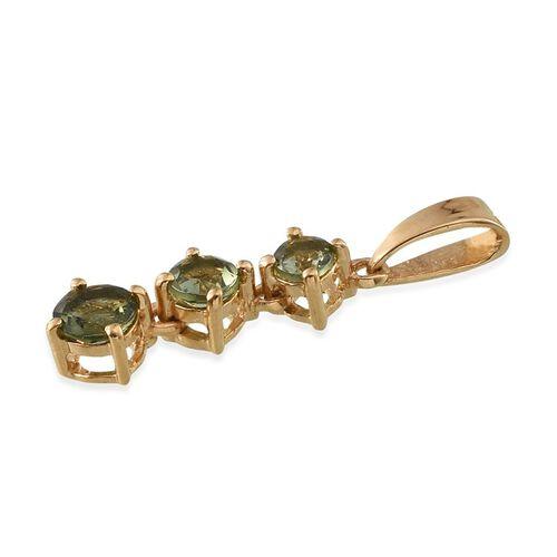 Bohemian Moldavite (Rnd) 3 Stone Pendant in 14K Gold Overlay Sterling Silver 0.500 Ct.
