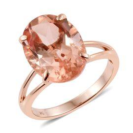 9K R Gold Galileia Blush Pink Quartz (Ovl) Solitaire Ring 10.000 Ct.