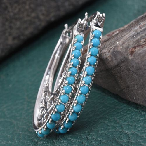 AA Arizona Sleeping Beauty Turquoise (Rnd) Hoop Earrings (with Clasp Lock) in Platinum Overlay Sterling Silver 2.000 Ct.
