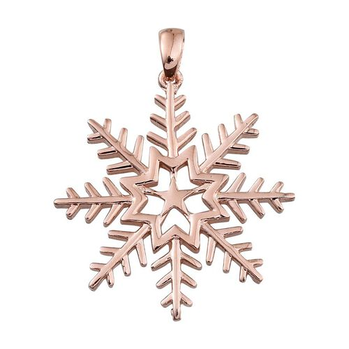 Rose Gold Overlay Sterling Silver Snowflake Pendant, Silver wt 4.19 Gms.