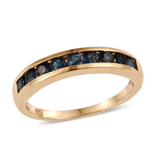 Rare Monte Belo Indicolite (Rnd) Half Eternity Band Ring in 14K Gold Overlay Sterling Silver 1.000 Ct.