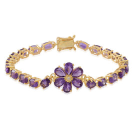 Natural Uruguay Amethyst (Ovl), Natural Cambodian White Zircon Floral Bracelet (Size 7) in 14K Gold Overlay Sterling Silver 12.500 Ct.